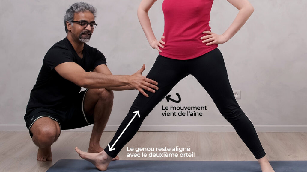 Comment placer l'avant jambe en Virabhadrasana II